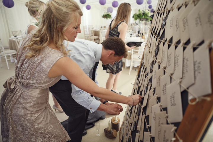 post card escort cards in brown enevelops