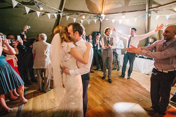 dancing at a tipi wedding reception