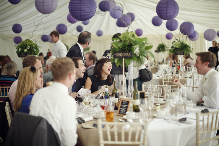 marquee with purple paper lanterns