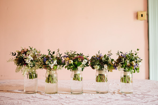 wedding bouquets in a row