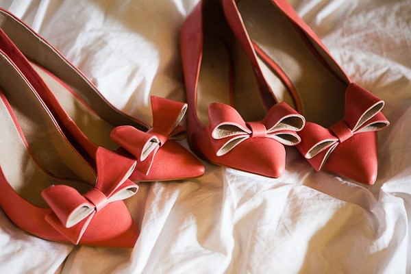 pink bridesmaids shoes with bow