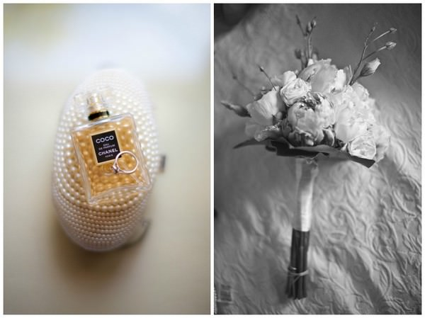 perfume and bridal bouquet