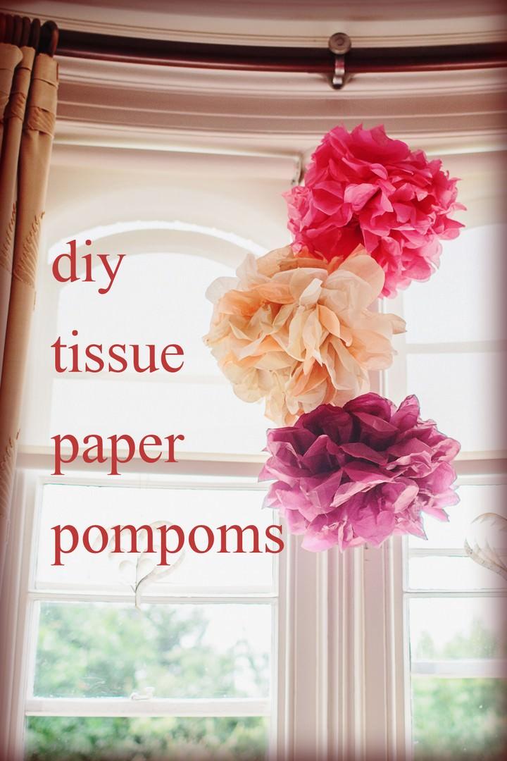 diy tissue paper pom poms. Black Bedroom Furniture Sets. Home Design Ideas