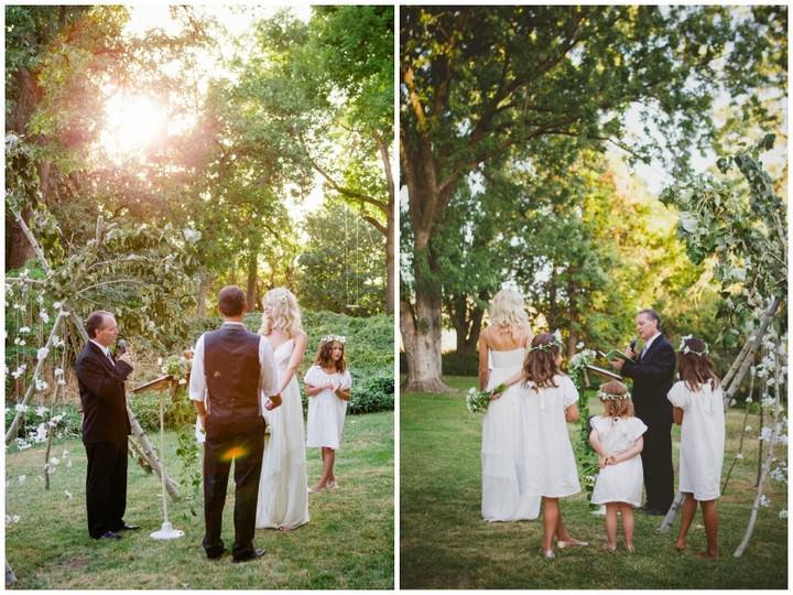 Boho Style Outdoors wedding ceremony