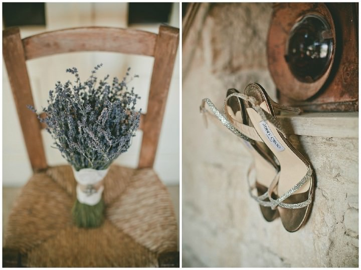 lavender bouquet and Jimmy Choo shoes