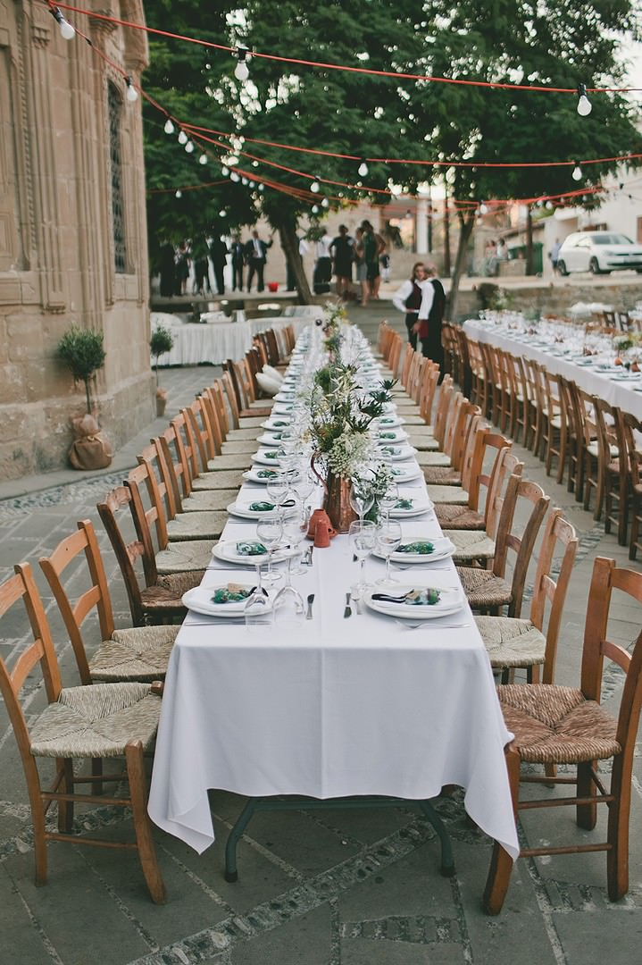 outdoor wedding reception set for dinner