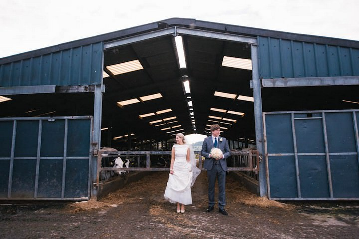 wedding couple at Bashall Barn