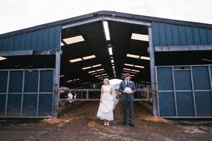 wedding couple at Bashall Barn