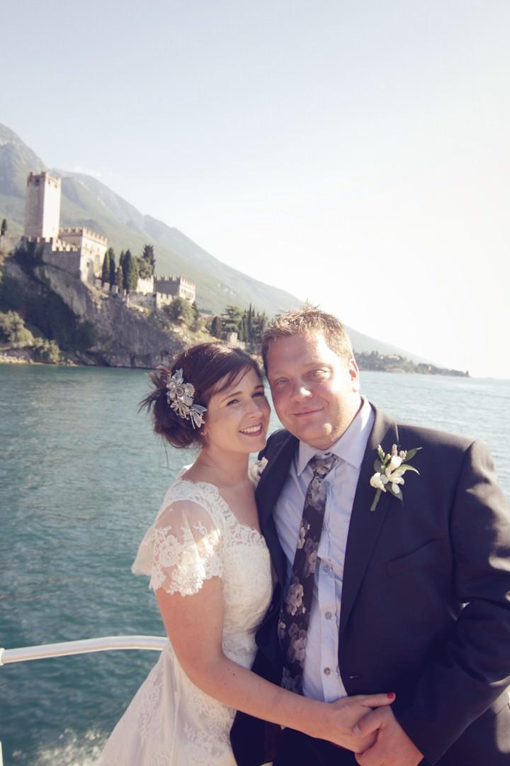 bride and groom in Lake Garda