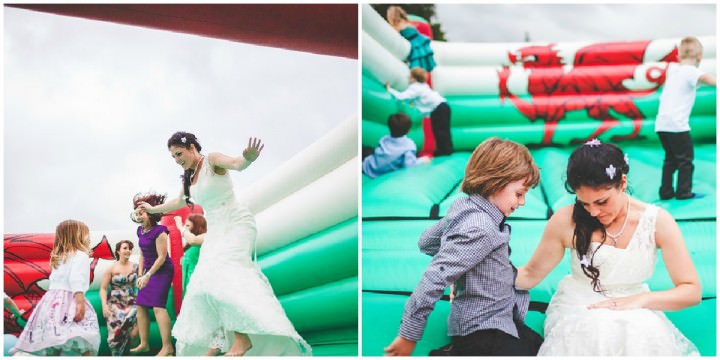 bouncy castle at a welsh wedding reception