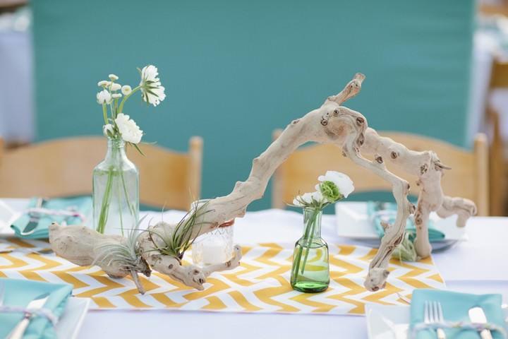 yellow chevron wedding details