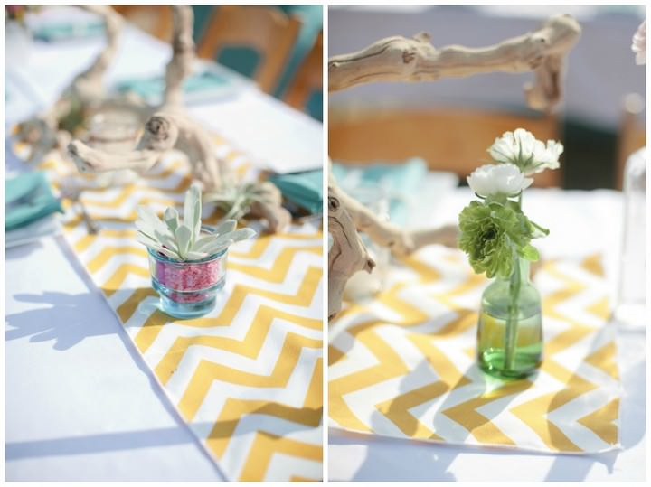 yellow chevron wedding details