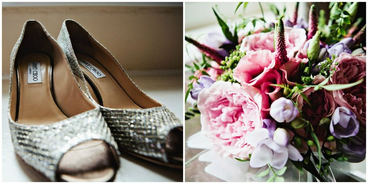 Jimmy Choos and wedding bouquet