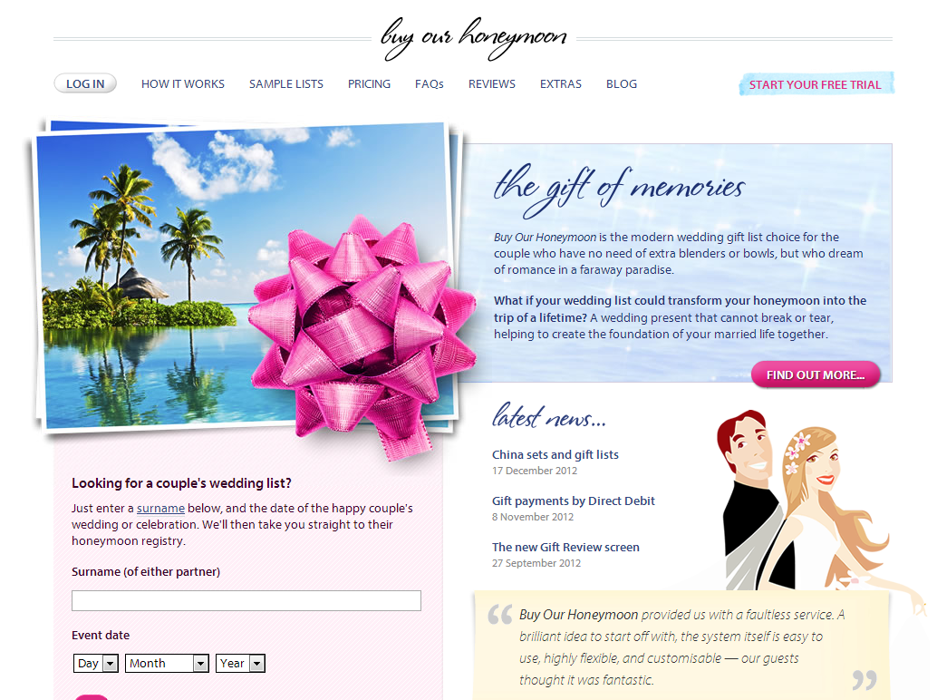 the ultimate gift list experience with buy our honeymoon