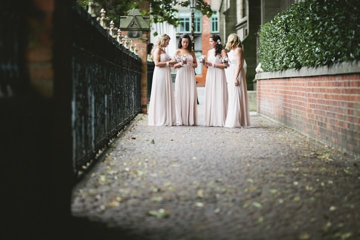 bridesmaids in dessy dresses