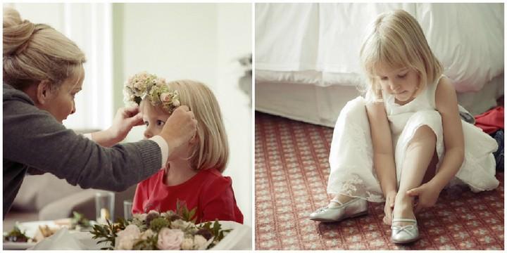 bridesmaid getting ready on her wedding day