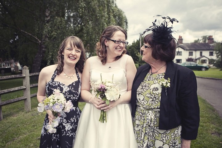 bride with bridesmaid and mum