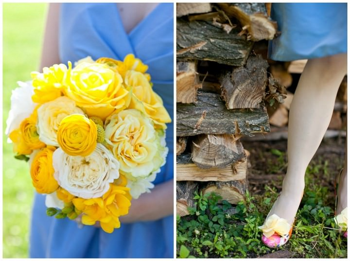 bridesmaids in blue dresses and yellow flowers