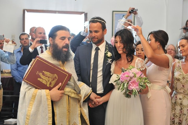 wedding ceremony at Anastasi Church, Imerovigli in Santorini