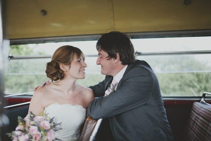 wedding couple in vintage wedding bus