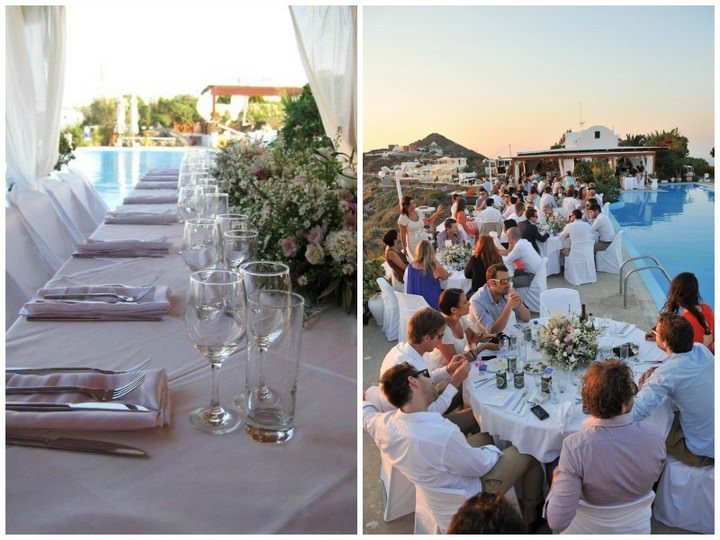 wedding reception at Imerovigli Palace in Santorini