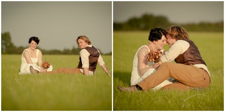 wedding couple in vintage outfits