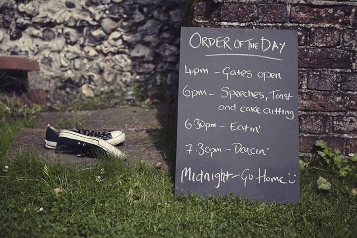 order of the wedding day written on a blackboard