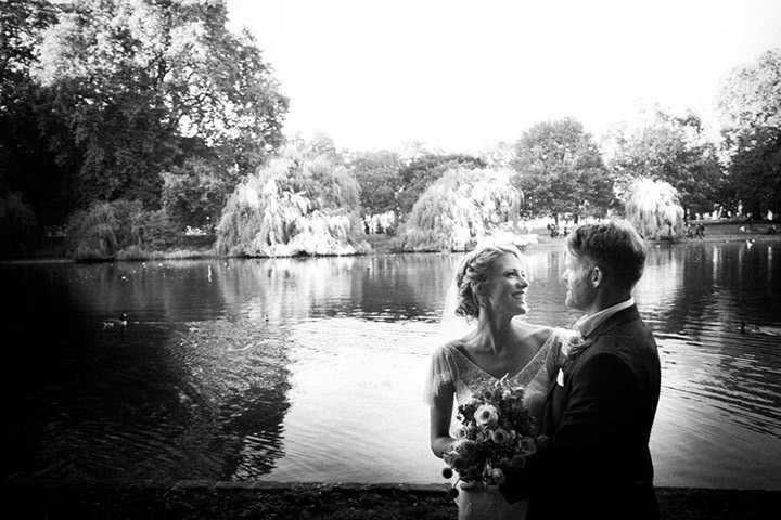 bride and groom in  St James Park London