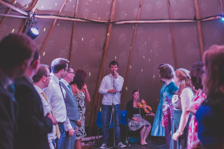 celidh band at a Tipi Wedding