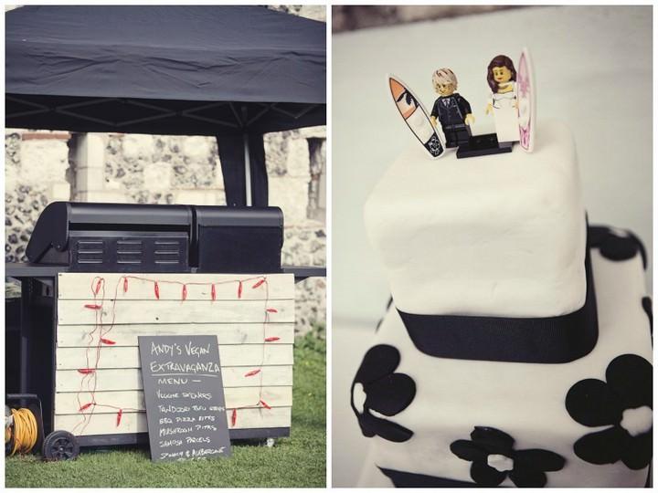 vegan BBQ and black and white wedding cake