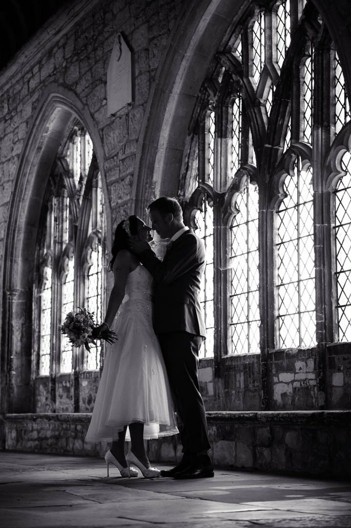 wedding couple at Chichester Cathedral.