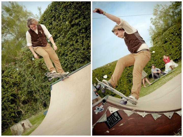 groom on a skateboard