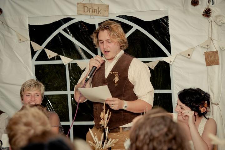 wedding speeches at rustic DIY wedding