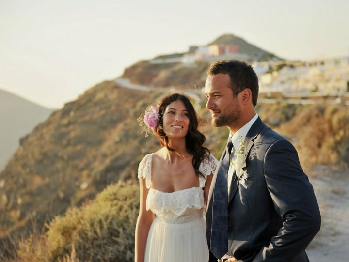 Sun Set Santorini Wedding by Trim Photography