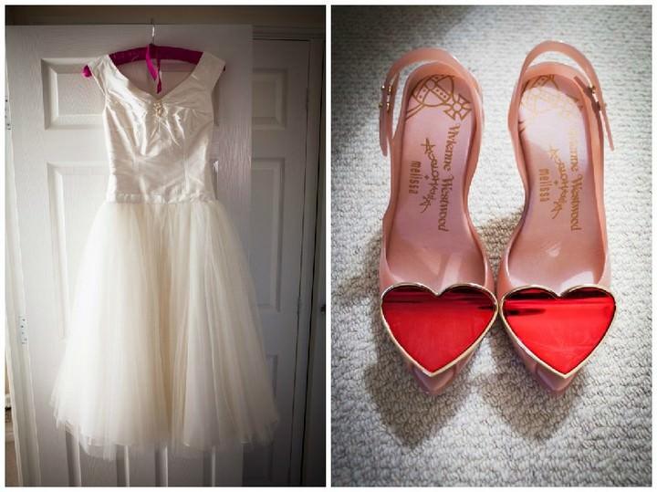 Joanne Fleming wedding dress and Vivienne Westwood Melissa shoes.
