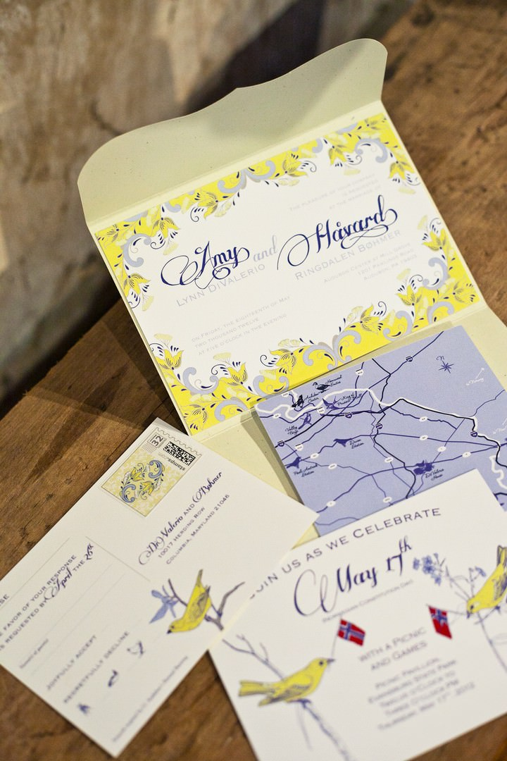 yellow and blue wedding inviations