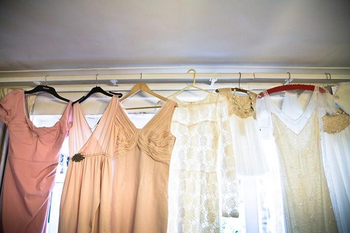 bridesmaids dresses hanging up