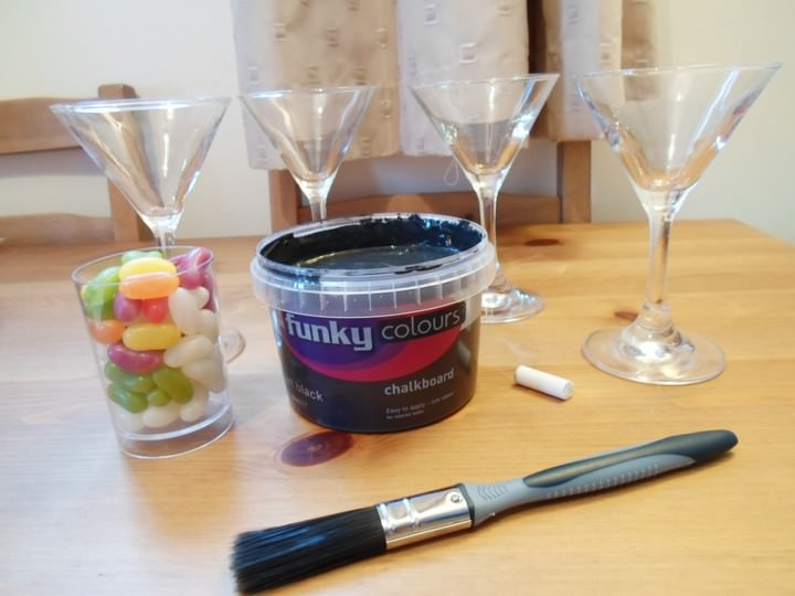 DIY Tutorial - Chalkboard Martini Glasses