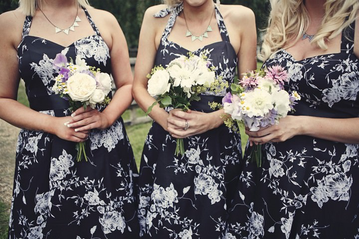 bridesmaids in black flower 50s style dresses