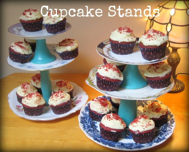 Diy tutorial vintage plate cupcake stands for Plate cake stand diy