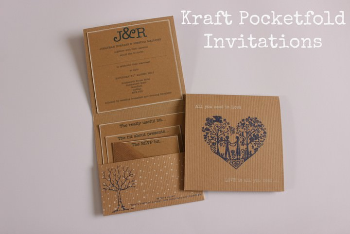 Diy tutorial kraft pocketfold invitations boho weddings for Diy pocket wedding invitations tutorial