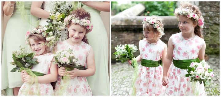 pink and green flower girls