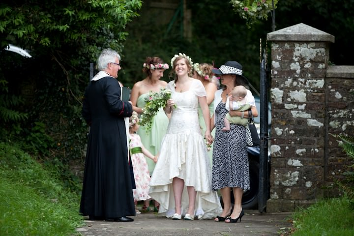 bridal party ready to enter the church