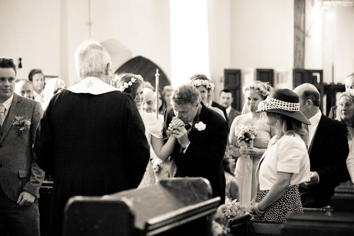wedding ceremony at All Saints Church, Langtree North Devon