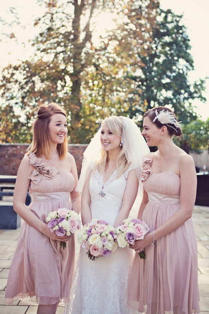 bride and pale pink bridesmaids