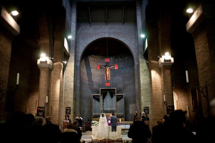 wedding ceremony at Church Regina Pacis in Reggio Emilia