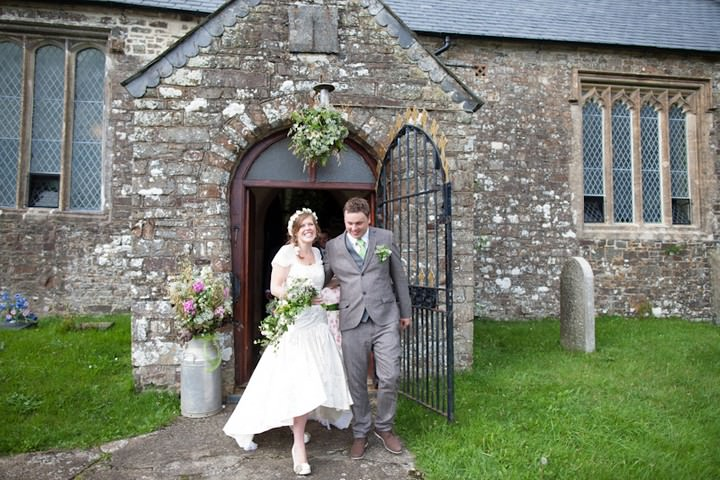 wedding couple at  All Saints Church, Langtree North Devon