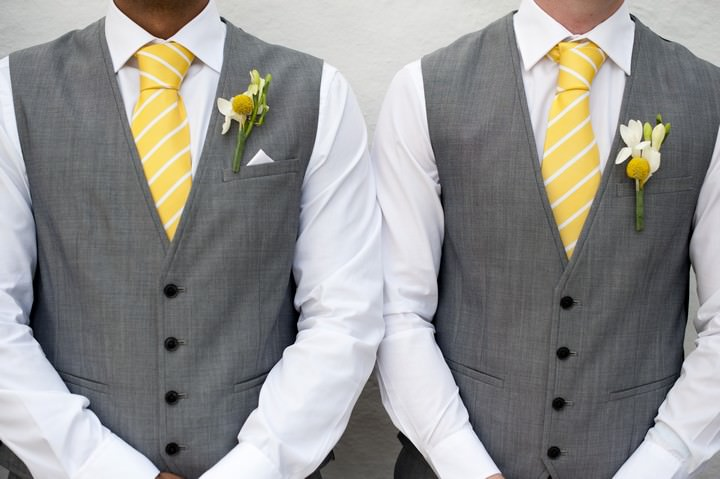 yellow and grey grooms wear ideas