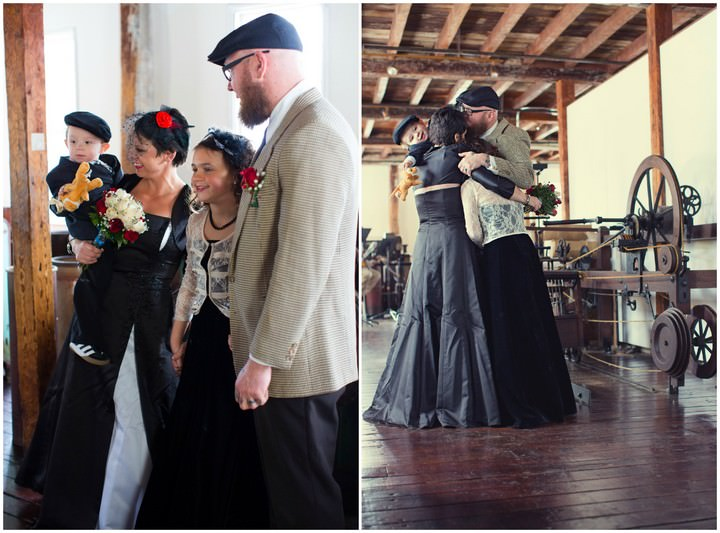 wedding ceremony at Slater Mill in Pawtucket, Rhode Island