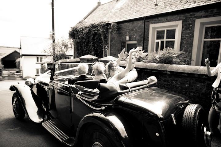 wedding couple at  All Saints Church, Langtree North Devon